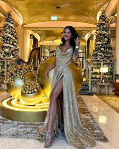 Sparkle Gold Sequins  Side Split Prom Dresses Sexy V Neck Sleeveless Party Gowns 2020 Backless Formal Evening Dress Robe de soiree