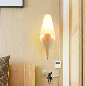 lampade moderne parete di legno coperta portato vetro apparecchio d'illuminazione montato luci sconce comodino bagno corridoio arredamento camera da letto a casa MYY