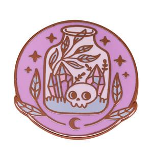 Witchcrafting zehir kristal kafatası ile şişe seti Cadılar Bayramı hediyesi için çiçekler pin ile bir kavanoz