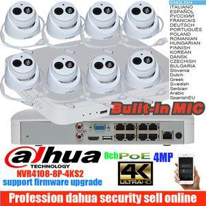 Ursprüngliche Mutil-Sprache dahua H.265 4MP Audio-POE-IP-Kamera DH-IPC-HDW4433C-A-System-Überwachungskamera für den Außenbereich 8CH 1080P NVR4108-8P-4KS2