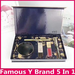 مجموعة مكياج Y العلامة التجارية الشهيرة غير لامع أحمر الشفاه Lipgloss Cushion BB Eyeliner Mascara Cosmetic Kit 5 في 1 مجموعة