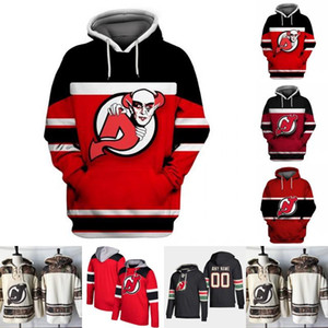 Diablos de New Jersey con capucha para hombre Jersey 1 Keith Kinkaid 9 Taylor Pasillo 13 Nico Hischier 35 Cory Schneider 44 Miles de madera jerseys del hockey