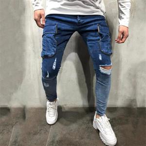 جديد مرصوف مصمم جينز رجالي المتناثرة ثقوب غسلها منتصف الخصر سليم جينز رجل عارضة أوم جينز مع جيوب