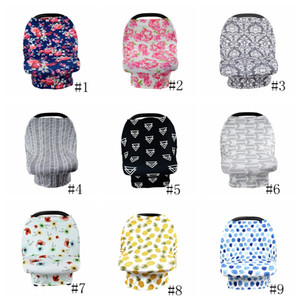 Baby Canopy Car Seat Cover 26styles INS Floral Stretchy Cotton Baby Nursing Cover Feeding Stroller Cover Infant Scarf Blanket GGA3496-2