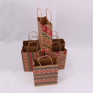 Weihnachtsgeschenk Taschen mit Griff Printed Kraft Paper Bag Kids Party-Bevorzugungen Taschen Box Weihnachtsdekoration Startseite Weihnachten-Kuchen-Süßigkeit-Beutel DBC VT1122