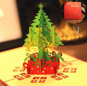 Christmas Greeting Card 3d mano Pop Up Biglietti d'auguri Gift Card Albero di Natale di carta regalo del partito Holiday Card Invitatio LJJA3467-2