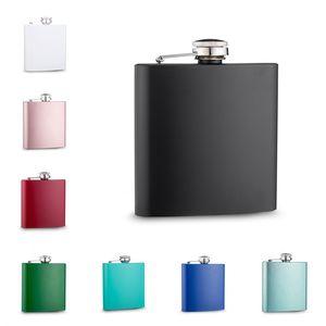 6 oz mixte couleur Flasque en acier inoxydable peint avec bouchon à vis, logo personnalisé accepte
