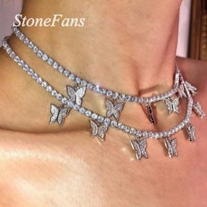 Declaração Stonefans Tennis Cadeia Borboleta Colar Gargantilha para Cadeia Mulheres Rhinestone borboleta colar de pingente de jóias charme
