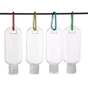 Anahtarlık ile Alkol Doldurulabilir Şişe boşaltın 50ml Seyahat Şişe DHL Veya UPS İçin Şeffaf Şeffaf Plastik El Temizleyici Şişe Hook