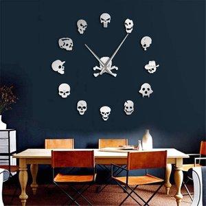37inch Skull Heads Clock DIY Horror Wall Art Giant Wall Clock Big Needle Frameless Zombie Heads Large Wall Watch Halloween Decoração