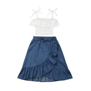 2019 Çocuk Kız Elbise Bebek Kız Prenses Jartiyer Beyaz Dantel Kapalı Omuz Kırpma Üst + Düzensiz Ruffles Denim Uzun Etek 2 Adet