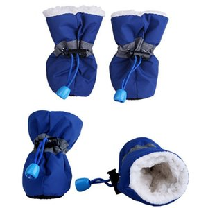 4pcs Waterproof Winter Pet Dog Shoes Anti-slip Rain Snow Boots Footwear Thick Warm For Small Cats Dogs Puppy Dog Socks Booties