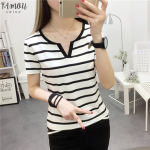 Womens Stripes T Shirt V Collar T Shirts Skinny Half Sleeve Clothes Women Slim Under Wear Tshirt Casual Top For Female