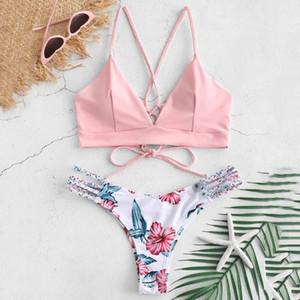 Sexy bikinis para as mulheres 2019 micro bikini set push up flor de corte duas peças swimsuit bandage feminino swimwear maiô biquini
