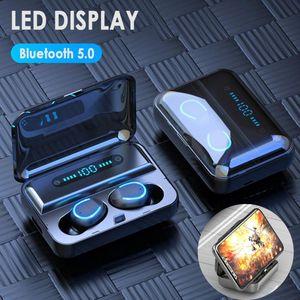 NEW TWS Sport drahtloser Bluetooth-Kopfhörer Stereo drahtlose Earbuds Mic USB Display Ladetasche Box LED