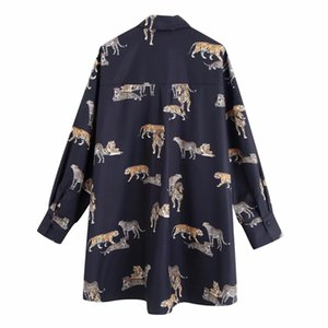 New 2020 vintage animal print casual loose kimono blouse shirts women wild chic chemise blusas brand femininas tops LS6080 MX200407