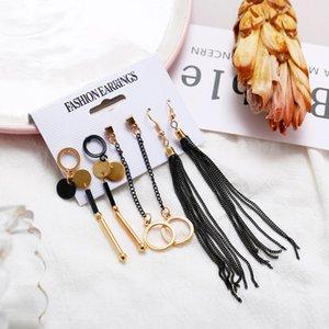 Women Creative 4 Pair Set Earrings Gold Alloy Irregular Earrings ladies Black Tassel Simple Luxury Wedding Party Earrings Wholesale