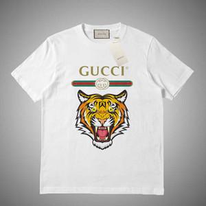 GUCCI 2019 Mens verão camiseta rosa Branco Cinza do pescoço de grupo Camisetas Letras impressão Hip pop luva Rapper Rua curto camisetas