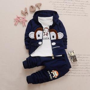 Kinderdreiteilige Jacke-Hose + Baumwolljacke + Langarm-T-Shirt Sport Anzug Jungen und Mädchen Baby-Karikatur Sweater