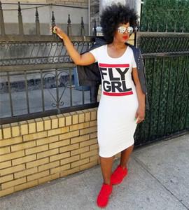 Seksi Kadın Elbise Yaz Skinny Bayanlar O Yaka Kısa Kollu Bayan Elbise FLY GRL Mektupları Baskı