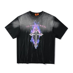 Flamme Croix Washed Rétro T-shirt hommes et femmes 100% coton lâche O cou Streetwear été T-shirts oversize à manches courtes T-shirt