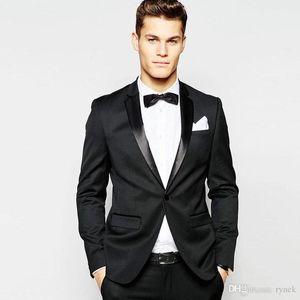 Erkekler Balo Son Designs Terno Masculino Slim Fit Kostüm Homme Mariage 2piece Suits için Biçimsel Siyah Mens Smokin mamülleri Düğün Suits