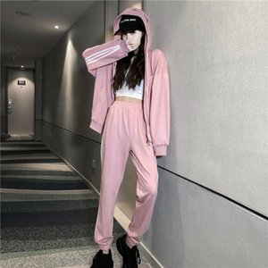 Designer designer women's sports suit fashion trend spring and autumn hooded sweater trousers suit leisure and comfortable-2