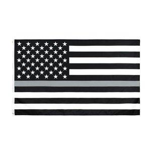 5 ft johnin 3 Amerikan ince gri düzeltme Görevlisi Kolluk bayrağı Birleşik Devletleri polyester