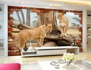 Фото обои современные творческие животные львы сломанной стены фреска гостиная телевизор диван фон стены фреска Papel De Parede 3D сала
