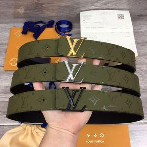 2020 A6 Diseño Cinturones de calidad superior de los hombres de cuero vacuno 100% de acero hebilla de diseño de correas para los hombres y de las mujeres 95-125cm tamaño con BXO embalaje