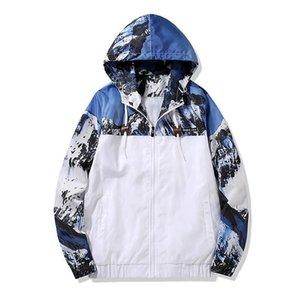 Fashion designer mens jackets European and American street hip hop stitching hooded windbreaker jungle camouflage thin jacket