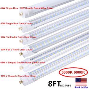 6500K 45W Tek Pin FA8 LED Tüpler T8 8 ft Armatür 8 feeet LED Floresan Lamba AC85-265V 8ft LED Tüp Işıklar