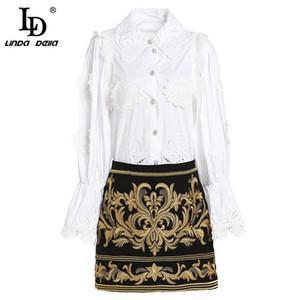 LD LINDA DELLA Fashion Shortway Gonna a due pezzi Set donna eleganti camicette bianche + mini gonne ricamate a fiori