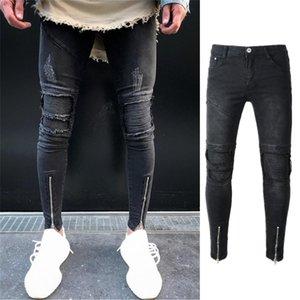 Fairy2019 Man Trend Frühling Selbst Anbau Jeans Jugend Wash Füße Hosen Löcher Männer Elastic Bound Falten-Force-Hosen
