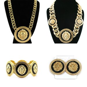 Fashion Women Girl Punk Vintage Gold Silver Plated Wide Chain Lion head Bracelet Earrings Necklace 3pcs Jewelry Sets Gift