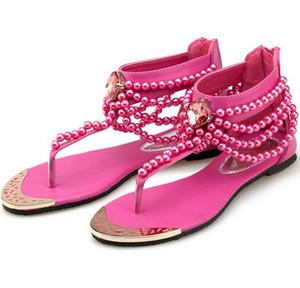 Neue Perle Kette Perlen Strass Keil Sandalen Gelb Flache Ferse Flip Flop Flops Mode Sexy Sommer Sandale Frauen Sandalen Schuhe