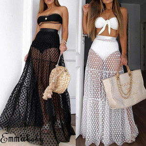 Femmes Sexy Summer Jupes longues See Through Dress for Bikini vacances Cover Up Sheer Tulle Tutu Jupe à pois