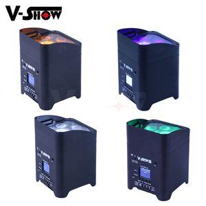 4pcs batería DMX inalámbrico Wifi remoto Led boda Aplique 6x18w RGBWAUV 6en1 Par LED del disco de DJ etapa luz