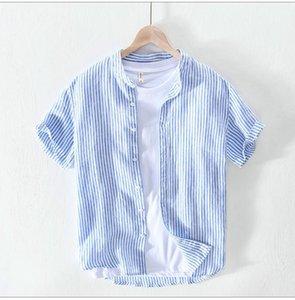 Beiläufige Mens-Hemden Ständer Neck Men Designer Kleidung Jugend Sommer-dünne kurze Hülsen-Mann Shirts Flachs Streifen lose