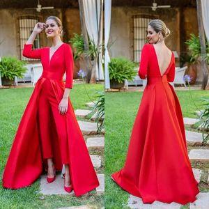 2019 Sexy Rouge Combinaisons Robes De Bal 3/4 Manches Longues Col En V Formelle Soirée Robes De Soirée Pas Cher Pantalon Occasion Spéciale