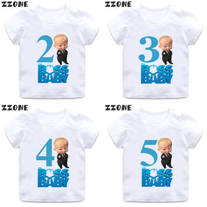 Boys Girls The Boss Baby Number 1-9 Print T shirt Kids Happy Birthday Gift Clothes Children Cartoon Funny Baby T-shirt,HKP5268 Y200704