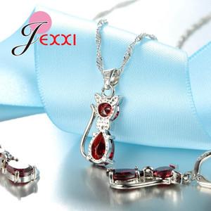 Jexxi carino gatto ciondolo collane orecchini a cerchio orecchini gioielli set ragazze acqua goccia cubica zircone gioielli da sposa set 7 colori