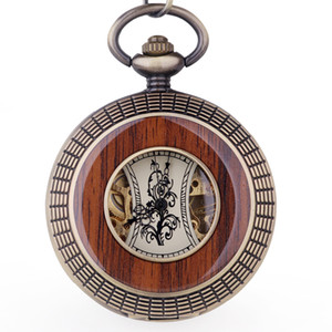 Hollow Roman Numerals Business Mechanical Unisex Pocket Watch Classic Gift Fob Watch With Chain