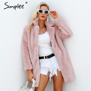 Simplee elegantes peludas mulheres rosa casaco de pele falso streetwear inverno quente de outono de pelúcia pelúcia casaco Feminino plus size sobretudo Y200109 partido