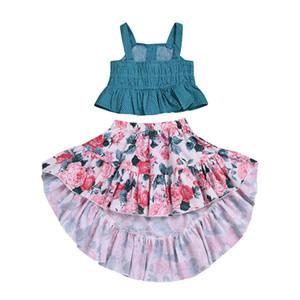 Meninas do bebê roupas de flores crianças Sling Dot top + saias Estampada floral 2 pçs / set 2019 moda verão crianças Conjuntos de Roupas C5933