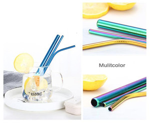2018 Top Fashion Colorful Reusable Drinking Straws Set High Quality Metal Straws with Cleaning Brush Creative Gifts kitchen Accessories