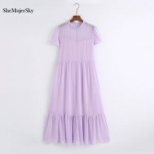 SheMujerSky Women Long Dresses Summer Elegant mesh O Neck Maxi Dress Ladies White Blue Solid Party O Neck Robe Vestidos