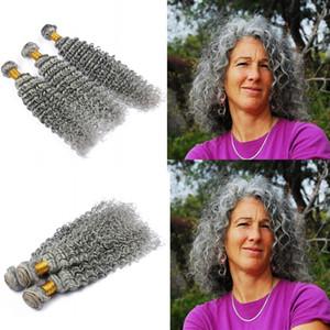 Gris argenté profonds bouclés Bundles de cheveux humains Pure Color Grey Hair Weaves Gris Deep Wave Extensions de cheveux Double Wefted