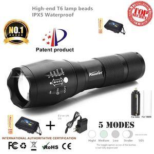G700 / E17 كري XML T6 5000Lm عالية الطاقة LED التكبير التكتيكية مضيا الشعلة فانوس تنزه السفر ضوء 18650 بطارية قابلة للشحن
