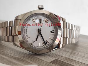 Luxury Business Montres Hommes Automatic 40 mm blanc Hommes Roman Jour Date Heure 228206 Montres-déployante en acier mécanique